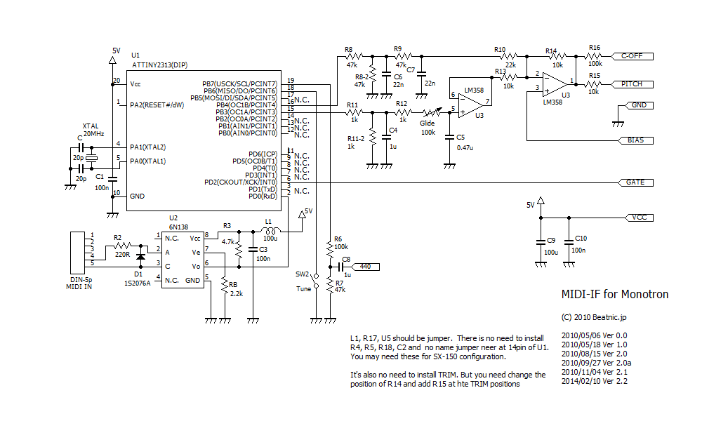 Monotron++ MIDI-IF kit V2